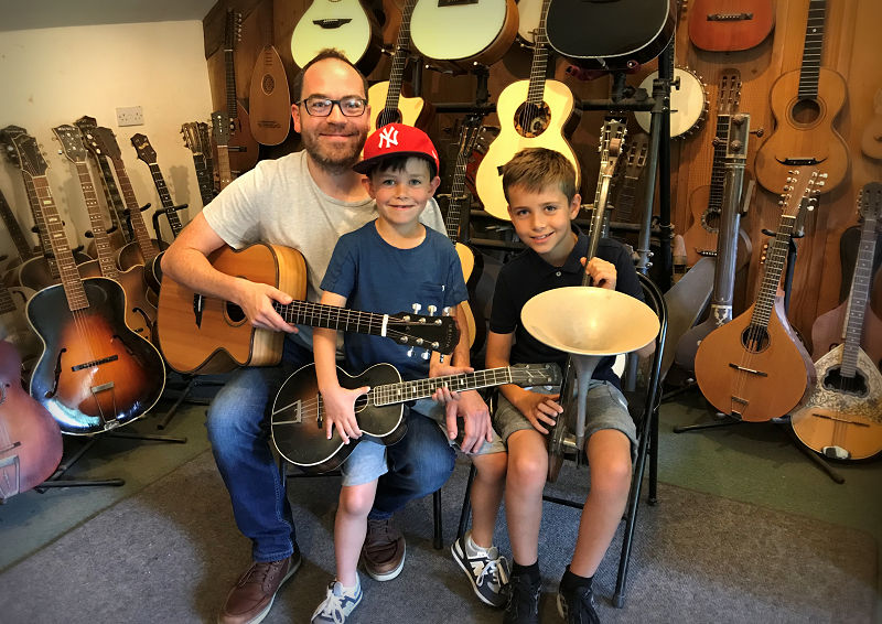 Rhyd and his lads in the Brook Guitars workshop