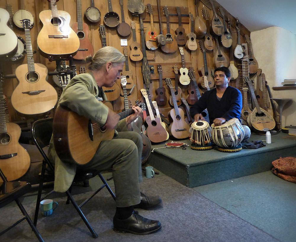 Marcus and Nitin at Brook Guitars
