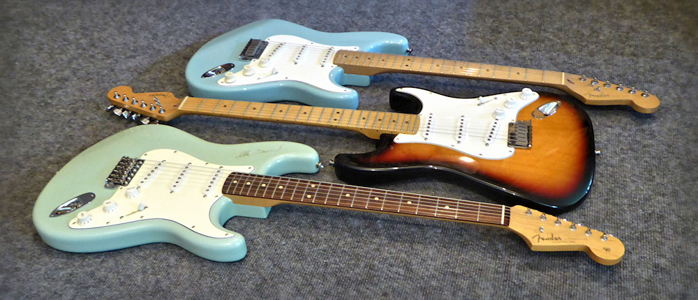 Three Custom Shop Strats