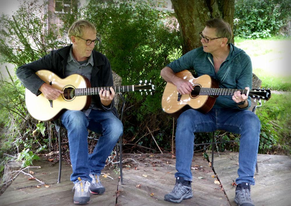 Alan and Hugh at Brook Guitars
