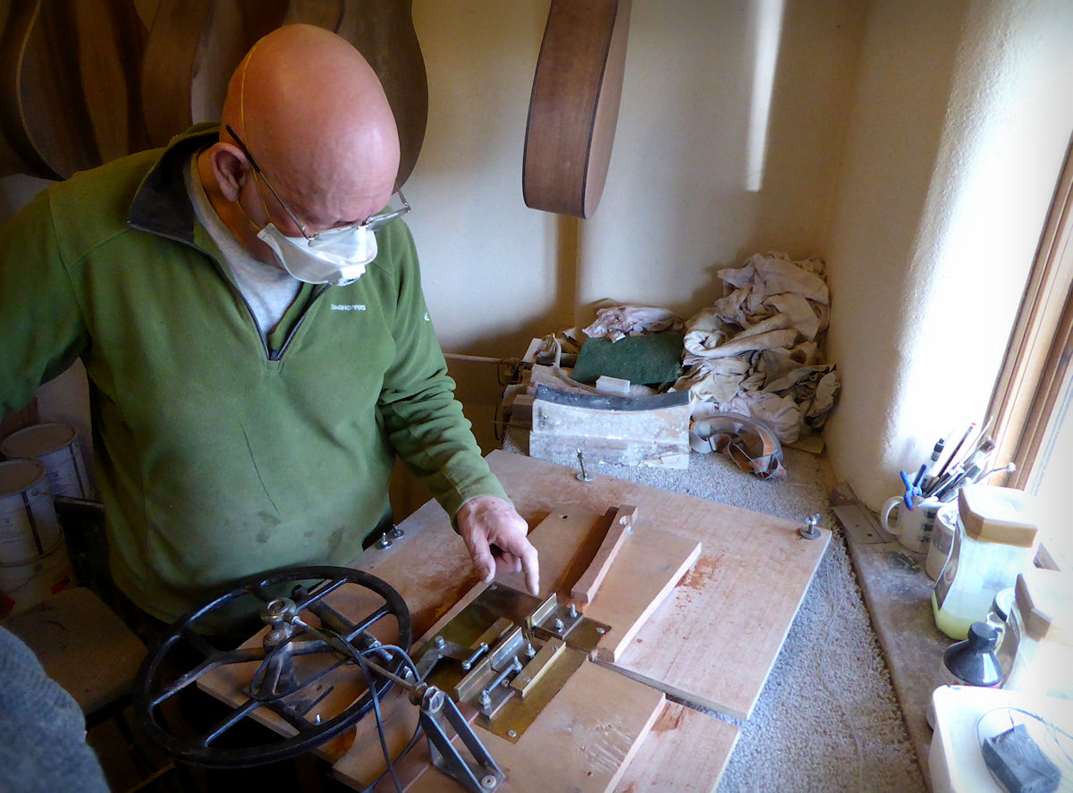 Andy mending the lining jig